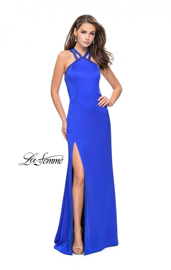 Picture of: Satin Prom Gown with Beaded Straps and Open Back in Sapphire Blue, Style: 25906, Detail Picture 3