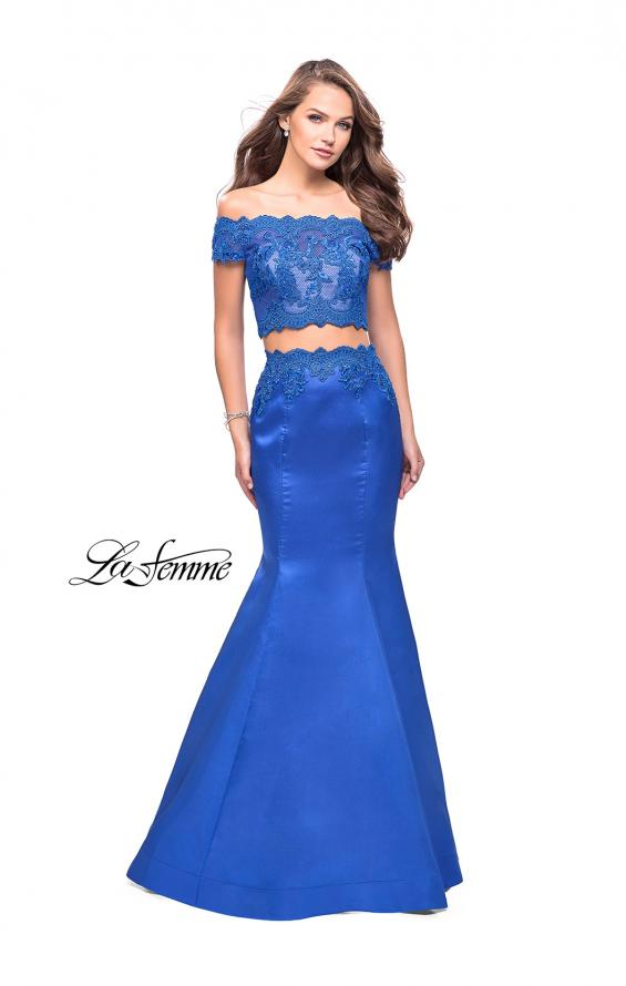 Picture of: Mikado Two Piece Prom Dress with Lace and Beading, Style: 25583, Detail Picture 4