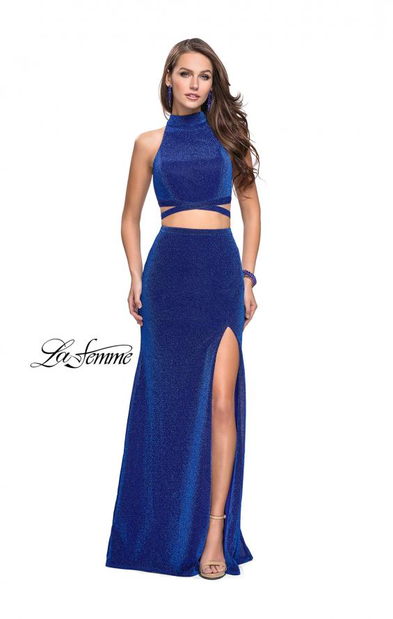 Picture of: Two Piece Jersey Prom Dress with Open Back and Leg Slit in Sapphire Blue, Style: 25604, Detail Picture 2