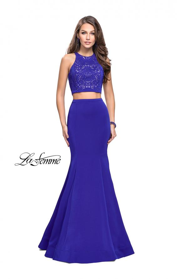 Picture of: Two Piece Jersey Prom Dress with Laser Cut Outs in Sapphire Blue, Style: 25759, Detail Picture 5