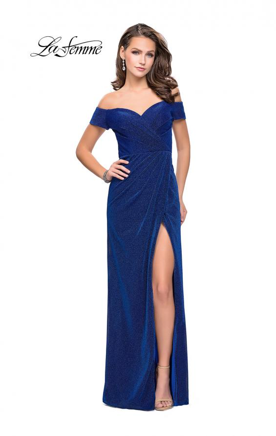 Picture of: Off the Shoulder Prom Dress with Wrap Side Leg Slit, Style: 25955, Detail Picture 5