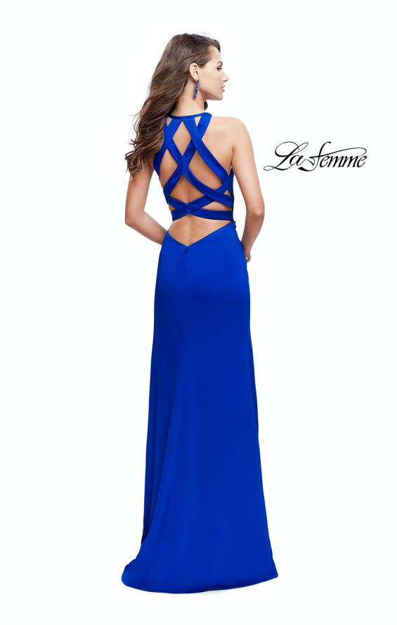 Picture of: High Neck Satin Gown with Leg Slit and Strappy Back, Style: 25962, Detail Picture 5