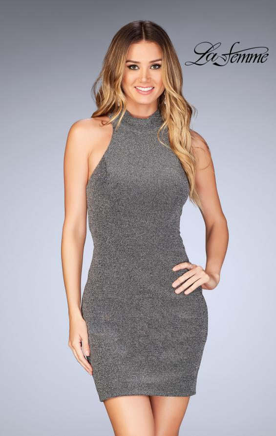 Picture of: Short Sparkly Jersey Dress with Keyhole Back in Silver, Style: 25367, Main Picture