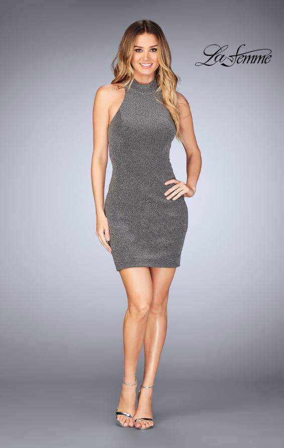 Picture of: Short Sparkly Jersey Dress with Keyhole Back in Silver, Style: 25367, Detail Picture 2