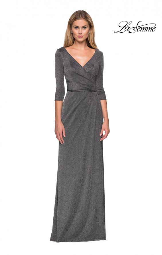 Picture of: 3/4 Sleeve Long Jersey Dress with Empire Waist in Silver, Style: 26419, Main Picture