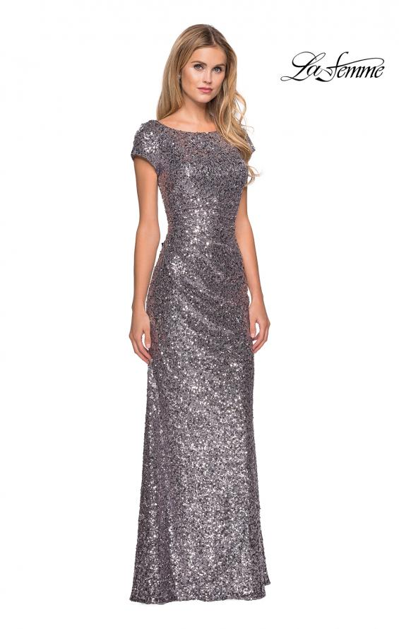 Picture of: Fully Sequined Long Dress with Short Sleeves in Silver, Style: 27079, Main Picture
