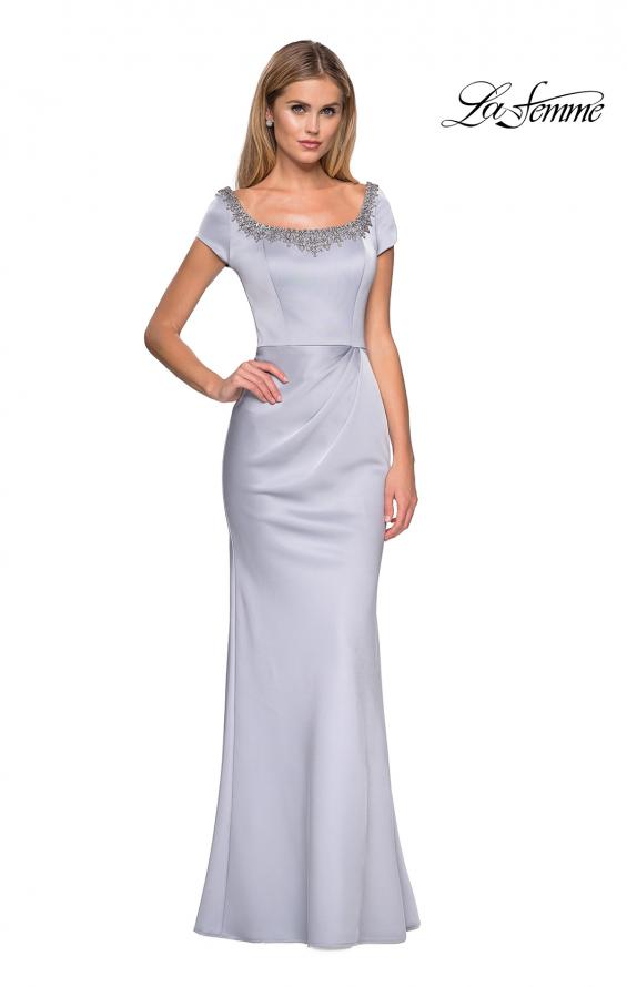 Picture of: Long Satin Gown with Embellished Sqaure Neckline, Style: 27244, Main Picture