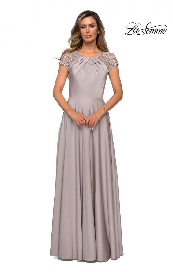 Picture of: Long Satin Dress with Sheer Floral Lace Cap Sleeves in Silver, Style: 28100, Main Picture