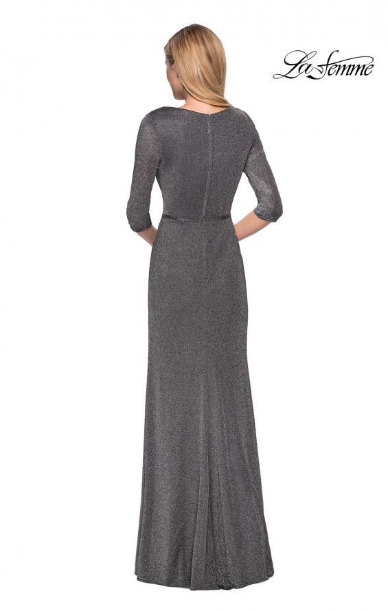 Picture of: 3/4 Sleeve Long Jersey Dress with Empire Waist in Silver, Style: 26419, Back Picture