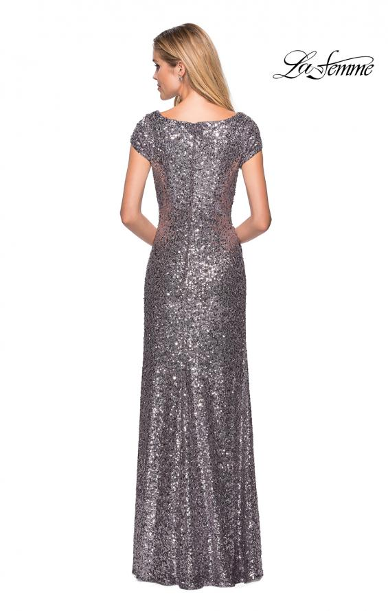 Picture of: Fully Sequined Long Dress with Short Sleeves in Silver, Style: 27079, Back Picture