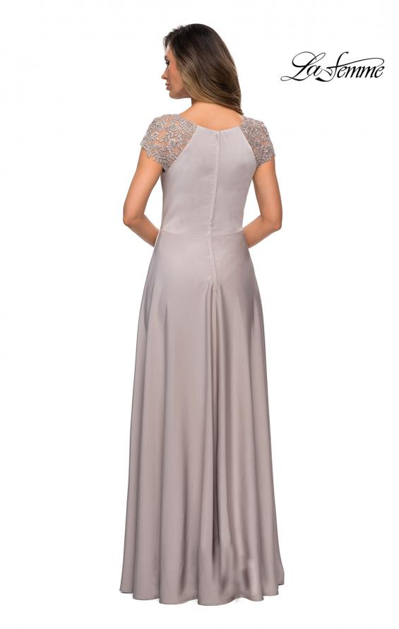 Picture of: Long Satin Dress with Sheer Floral Lace Cap Sleeves in Silver, Style: 28100, Back Picture