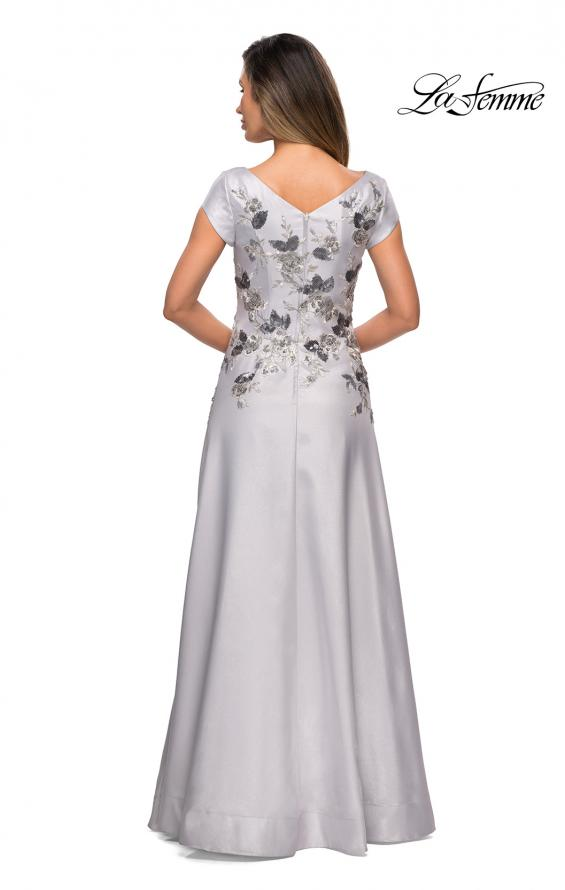Picture of: Modern A-line Gown with Floral Bodice and Cap Sleeves in Silver, Style: 28105, Back Picture