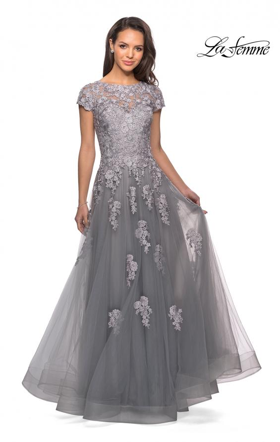 Picture of: Long Tulle Gown with Intricate Lace Detailing, Style: 26907, Detail Picture 1