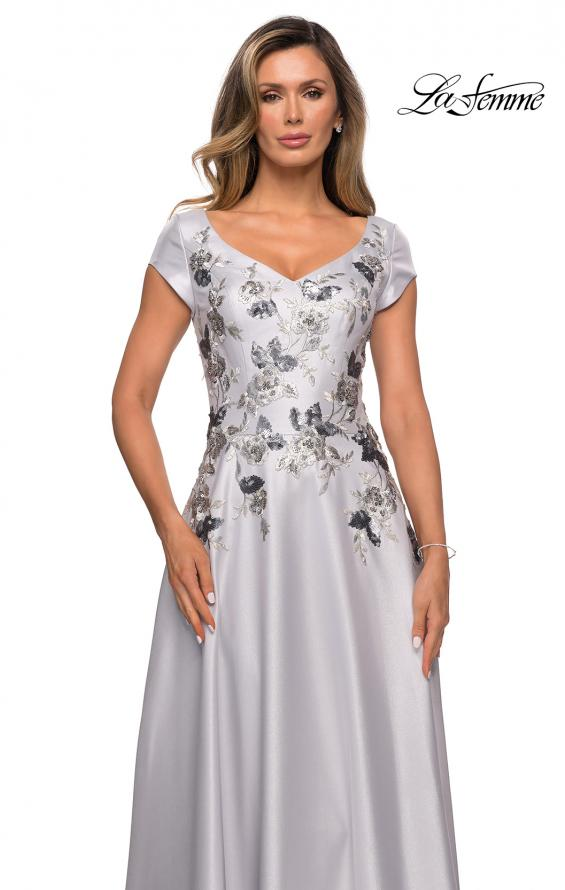 Picture of: Modern A-line Gown with Floral Bodice and Cap Sleeves in Silver, Style: 28105, Detail Picture 1