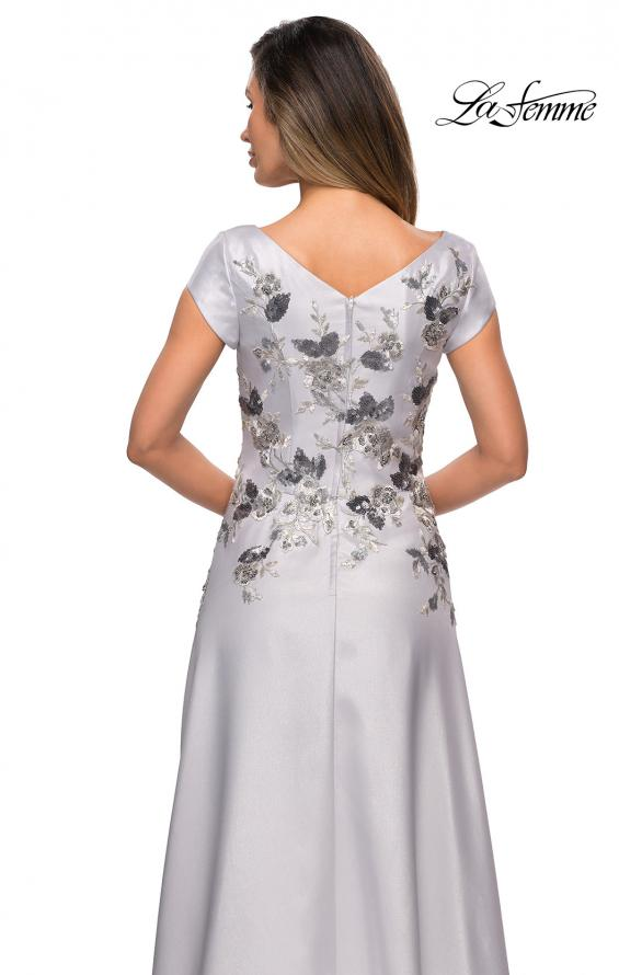 Picture of: Modern A-line Gown with Floral Bodice and Cap Sleeves in Silver, Style: 28105, Detail Picture 2