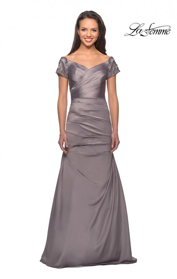 Picture of: Satin Off the Shoulder Dress with Beaded Sleeves in Silver, Style: 25996, Detail Picture 3