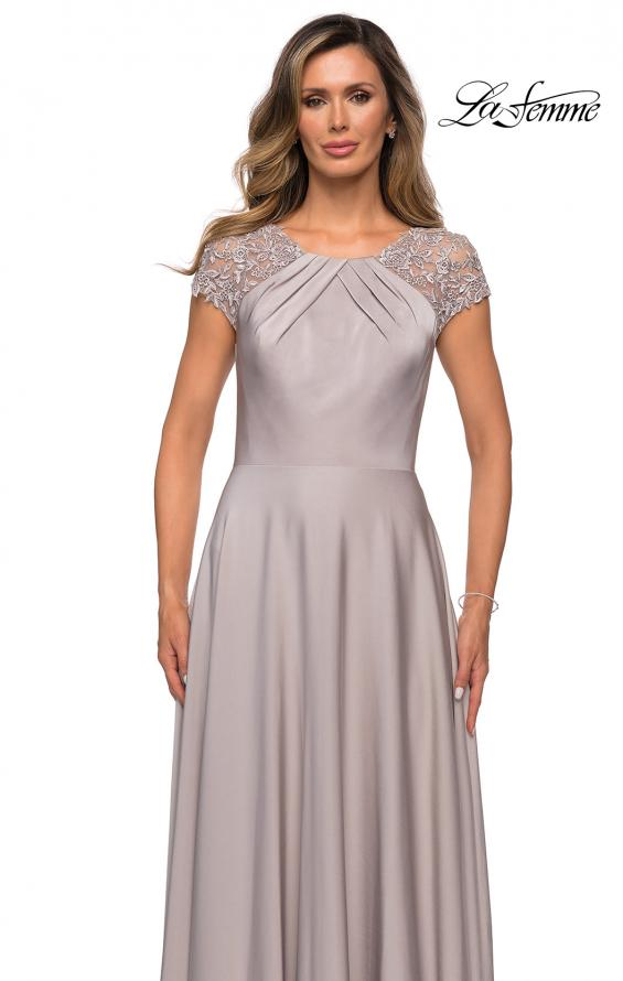 Picture of: Long Satin Dress with Sheer Floral Lace Cap Sleeves in Silver, Style: 28100, Detail Picture 3