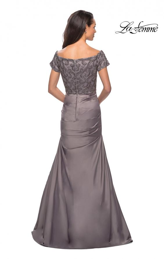 Picture of: Satin Off the Shoulder Dress with Beaded Sleeves in Silver, Style: 25996, Detail Picture 4