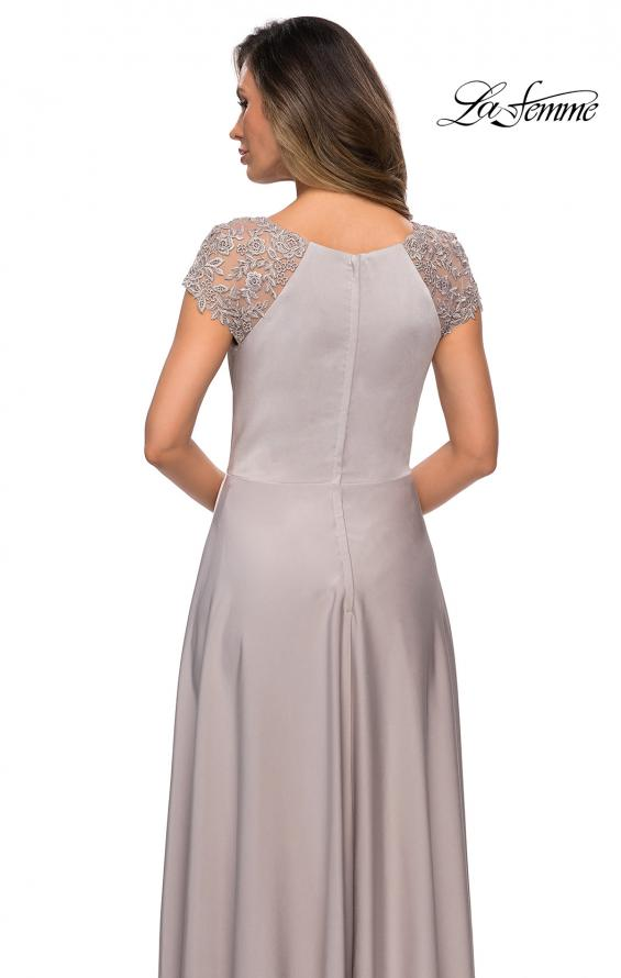 Picture of: Long Satin Dress with Sheer Floral Lace Cap Sleeves in Silver, Style: 28100, Detail Picture 4
