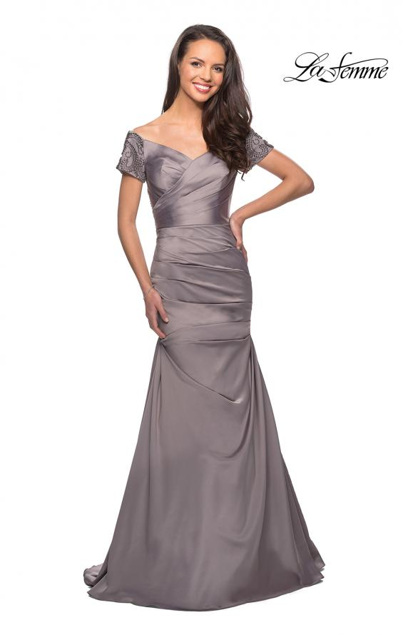 Picture of: Satin Off the Shoulder Dress with Beaded Sleeves in Silver, Style: 25996, Detail Picture 6