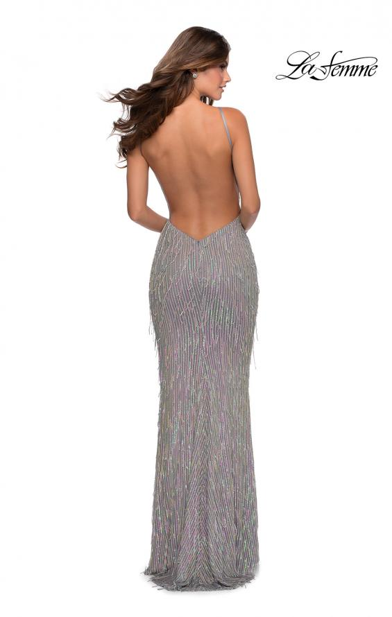 Picture of: Iridescent Fringe Prom Dress with Open Back in Silver, Style: 28517, Back Picture