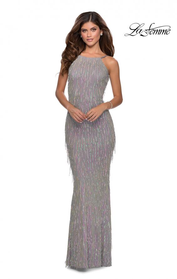 Picture of: Iridescent Fringe Prom Dress with Open Back in Silver, Style: 28517, Detail Picture 1