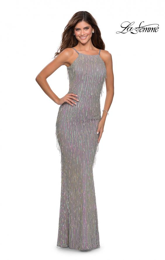 Picture of: Iridescent Fringe Prom Dress with Open Back in Silver, Style: 28517, Detail Picture 3