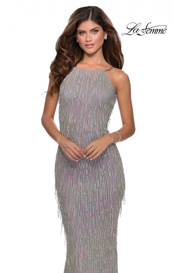 Picture of: Iridescent Fringe Prom Dress with Open Back in Silver, Style: 28517, Detail Picture 4