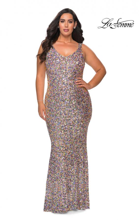 Picture of: Floor Length Multi Colored Sequin Plus Size Prom Dress in Silver, Style: 28863, Main Picture