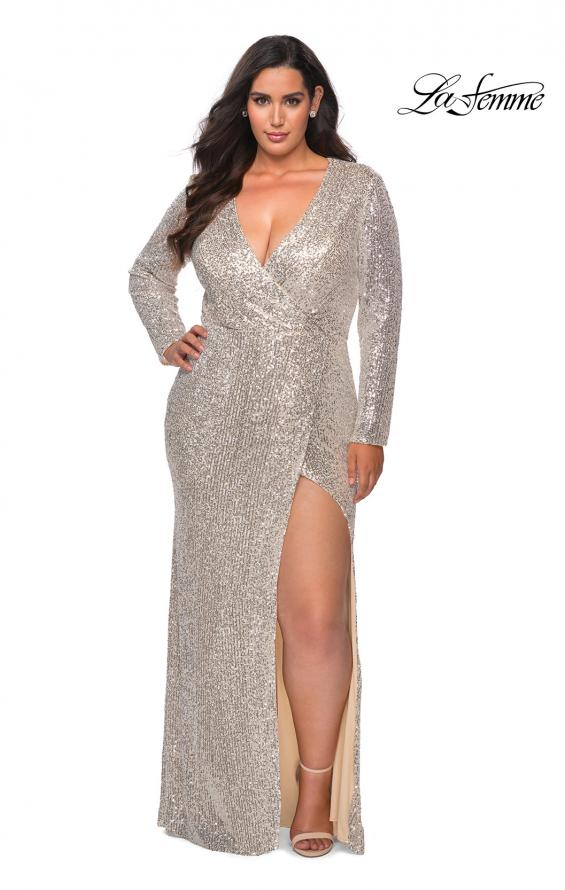 Picture of: Long Sleeve Sequin Plus Size Prom Dress with Slit in Silver, Style: 28880, Main Picture