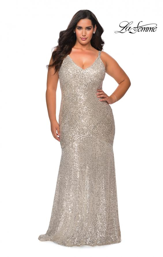Picture of: Long Sequin Curvy Prom Dress with V-Neckline in Silver, Style: 29006, Main Picture