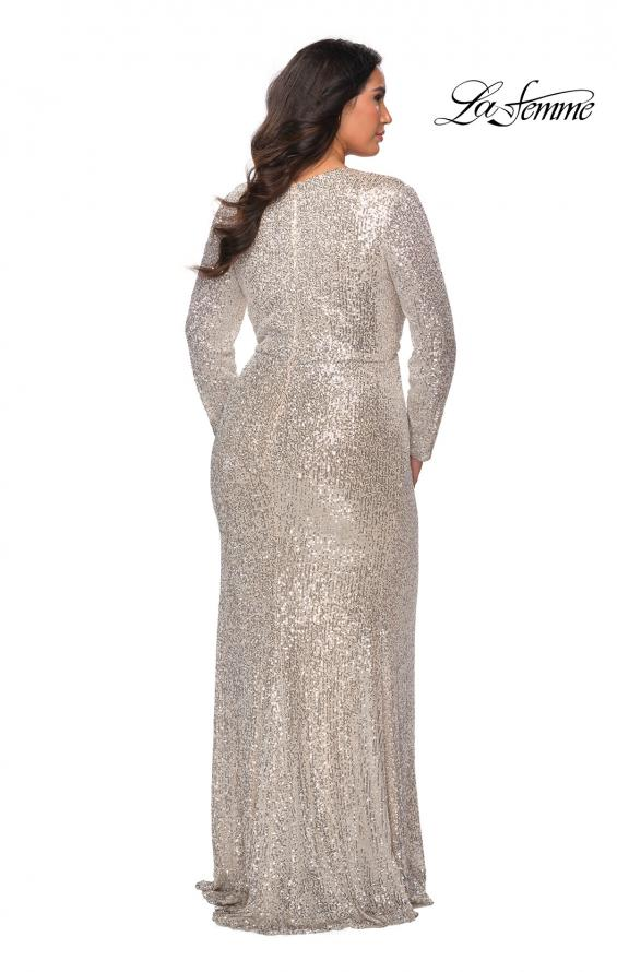 Picture of: Long Sleeve Sequin Plus Size Prom Dress with Slit in Silver, Style: 28880, Back Picture