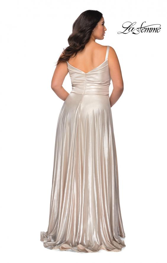 Picture of: Metallic Grecian Long Plus Size Prom Dress in Silver, Style: 28989, Back Picture