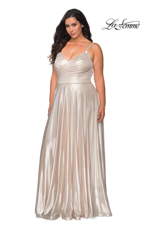 Picture of: Metallic Grecian Long Plus Size Prom Dress in Silver, Style: 28989, Detail Picture 2