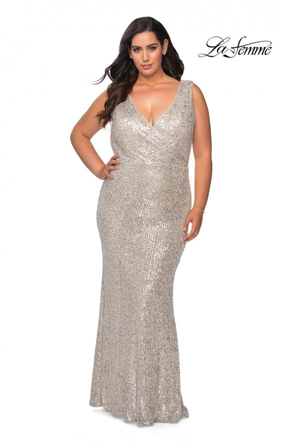 Picture of: Long Sequin Plus Size Prom Gown with V-Neck in Silver, Style: 28770, Detail Picture 3