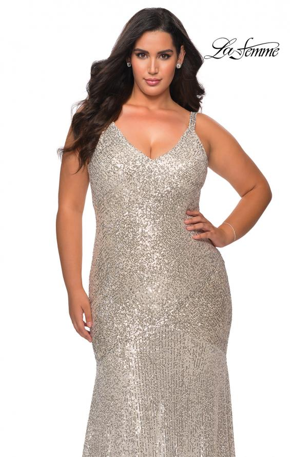 Picture of: Long Sequin Curvy Prom Dress with V-Neckline in Silver, Style: 29006, Detail Picture 3