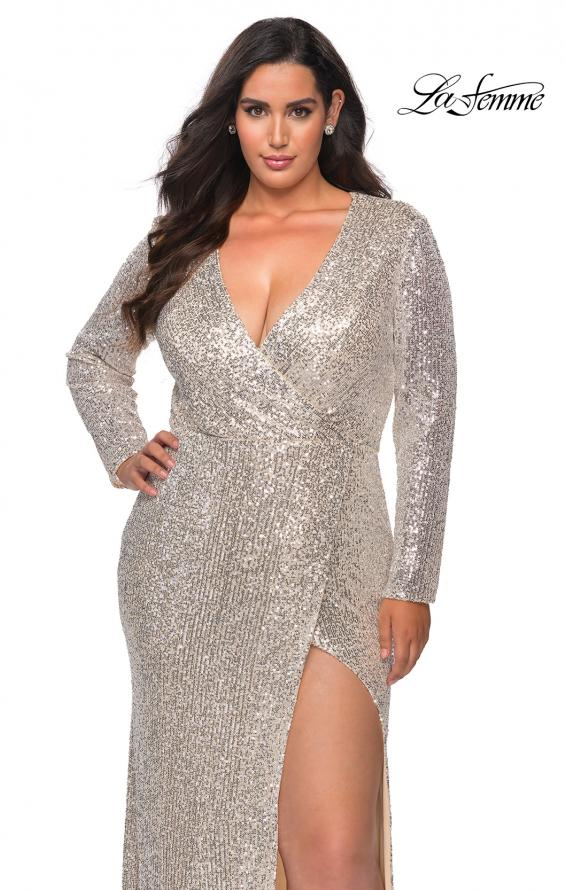 Picture of: Long Sleeve Sequin Plus Size Prom Dress with Slit in Silver, Style: 28880, Detail Picture 4