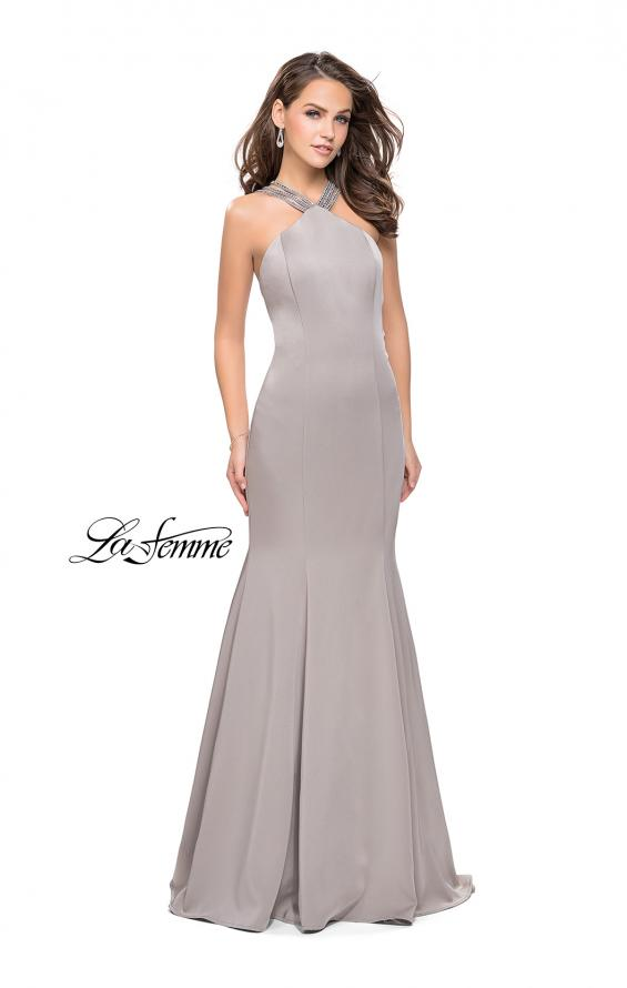 Picture of: Halter Mermaid Prom Dress with Metallic Beading in Silver, Style: 25763, Main Picture