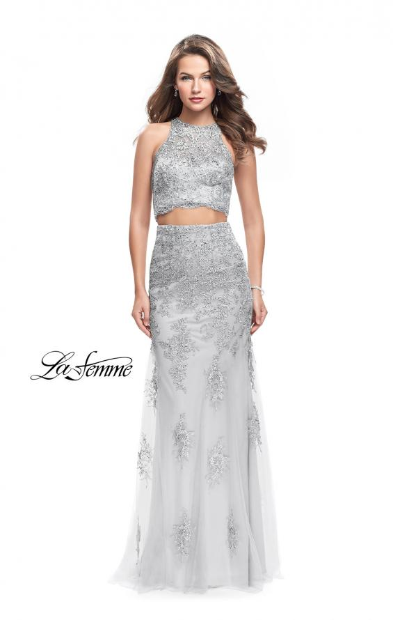 Picture of: Beaded Lace Two Piece Prom Dress with High Neckline in Silver, Style: 26294, Main Picture