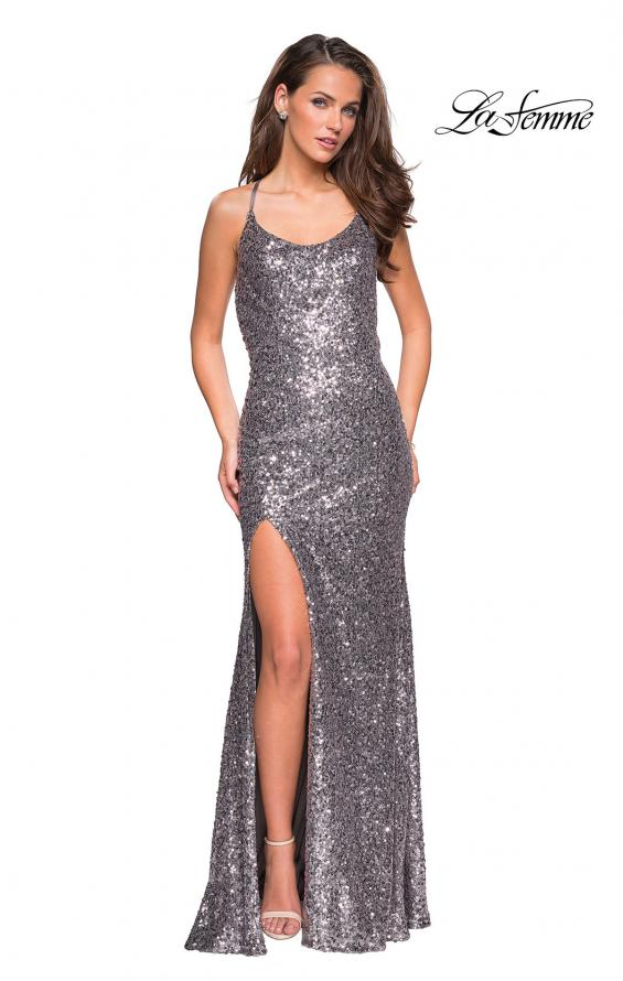 Picture of: Long Beaded Prom Dress with Scoop Neck in Silver, Style: 26974, Main Picture