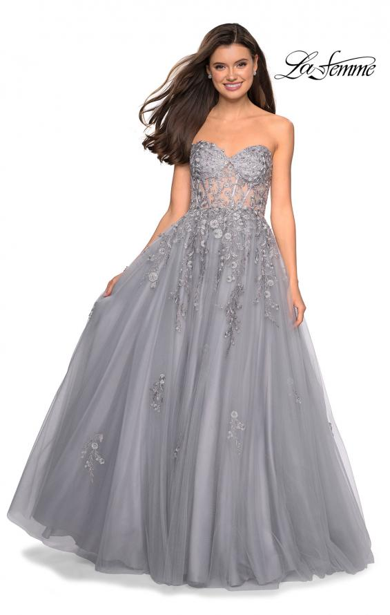 Picture of: Strapless Tulle Gown with Corset Bodice and Lace Detail in Silver, Style: 27592, Main Picture