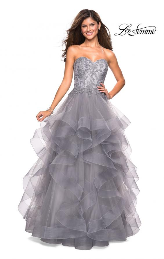 Picture of: Strapless Tulle Prom Gown with Lace Embellishments in Silver, Style: 27620, Main Picture