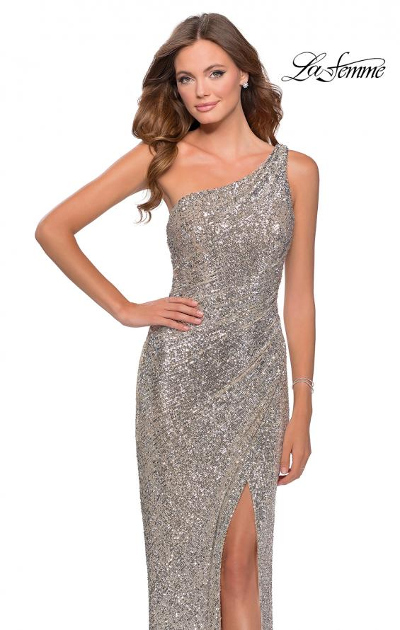 Picture of: Long Sequin One Shoulder Ruched Prom Dress in Silver, Style: 28401, Main Picture