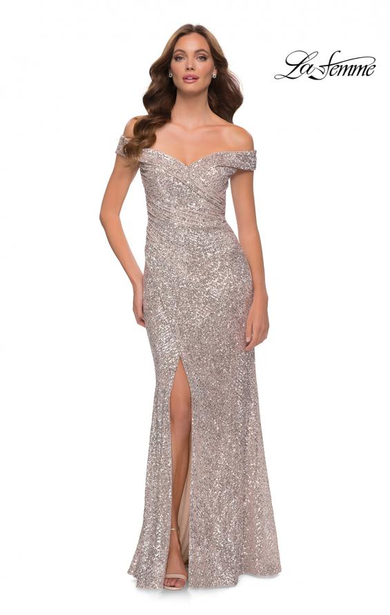 Picture of: Off the Shoulder Ruched Sequin Dress with Slit in Silver, Style 29831, Main Picture