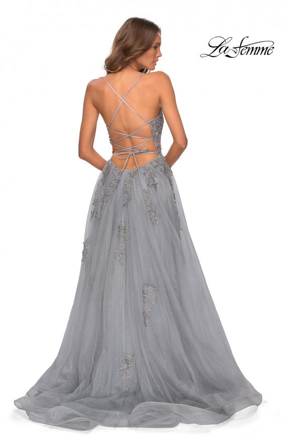Picture of: A-line Tulle Gown with Floral Embroidery and Pockets in Silver, Style: 28470, Detail Picture 8