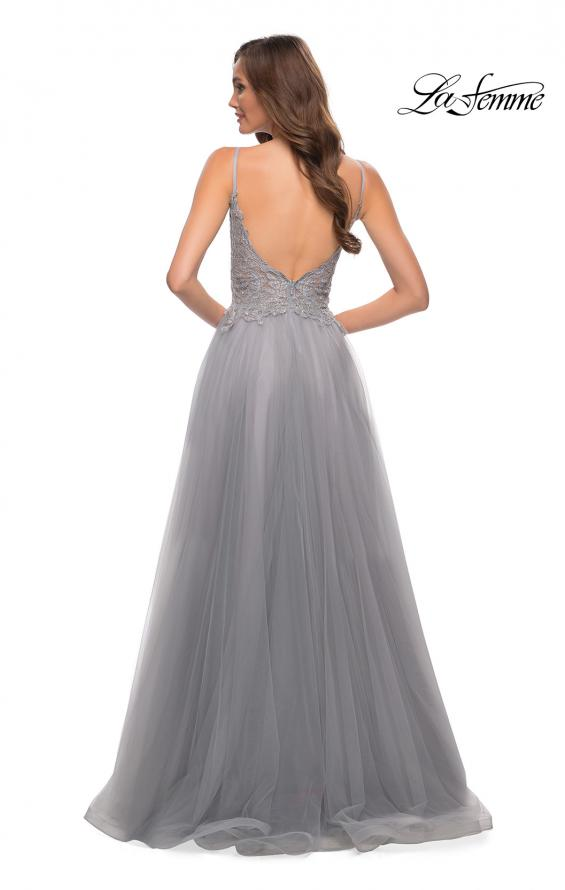 Picture of: Tulle A Line Gown with Lace Rhinestone Bodice in Silver, Style 29686, Detail Picture 8