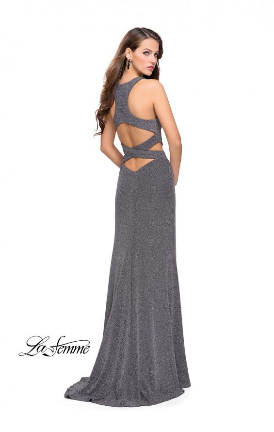 Picture of: Long Jersey Prom Dress with Cut Outs and Low Scoop Back, Style: 25422, Back Picture