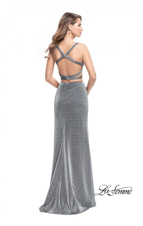 Picture of: Long Jersey Two Piece Prom Dress with Side Cut Outs in SIlver, Style: 25597, Back Picture