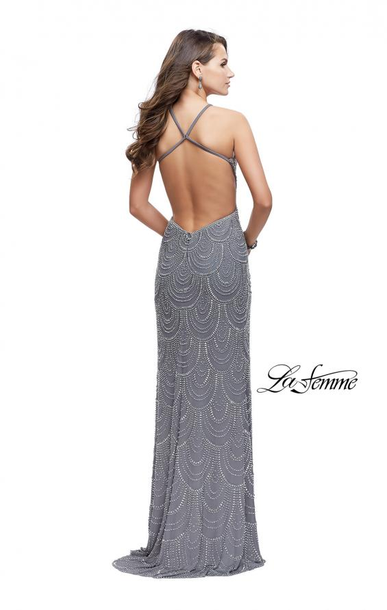 Picture of: Long Scalloped Beaded Prom Dress with High Neck in Silver, Style: 26030, Back Picture