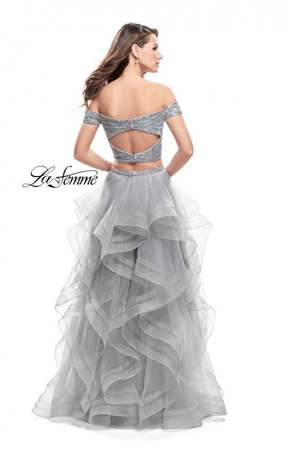 Picture of: Off the Shoulder A-line Gown with Ruffle Tulle Skirt in Silver, Style: 26169, Back Picture